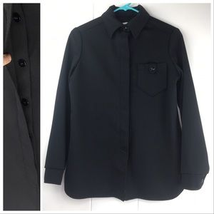 Vintage 70s Devon Men's Black Polyester Shirt